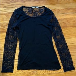 Black Top with Lace sleeves and back